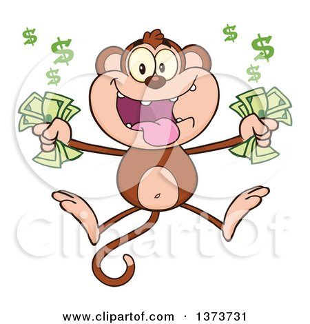 Cartoon Clipart of a Rich Monkey Mascot Holding Cash Money and Jumping - Royalty Free Vector Illustration by Hit Toon