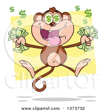 Cartoon Clipart of a Rich Monkey Mascot with Dollar Eyes, Holding Cash Money and Jumping over Yellow - Royalty Free Vector Illustration by Hit Toon