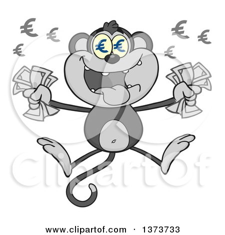 Cartoon Clipart of a Gray Rich Monkey Mascot with Euro Eyes, Holding Cash Money and Jumping - Royalty Free Vector Illustration by Hit Toon