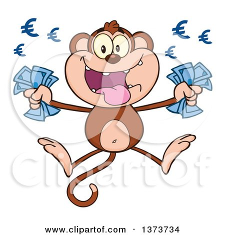 Cartoon Clipart of a Rich Monkey Mascot Holding Euro Cash Money and Jumping - Royalty Free Vector Illustration by Hit Toon