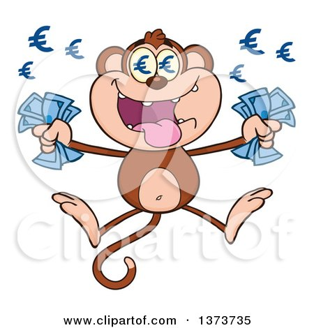 Cartoon Clipart of a Rich Monkey Mascot with Euro Eyes, Holding Cash Money and Jumping - Royalty Free Vector Illustration by Hit Toon