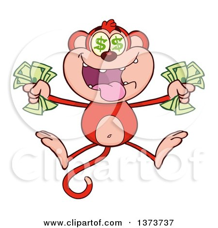 Cartoon Clipart of a Rich Red Monkey Mascot with Dollar Eyes, Holding Cash Money and Jumping - Royalty Free Vector Illustration by Hit Toon