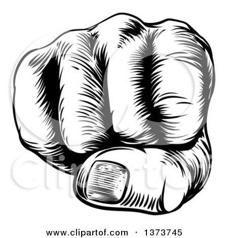 Clipart of a Black and White Retro Woodcut Fist - Royalty Free Vector Illustration by AtStockIllustration