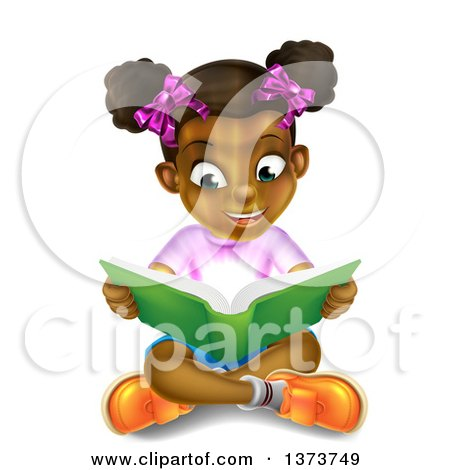Clipart of an Amazed Black Girl Sitting on the Floor and Reading a Book with Light Glowing from the Pages - Royalty Free Vector Illustration by AtStockIllustration