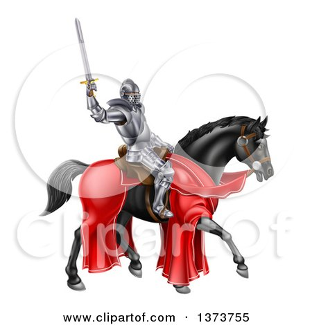 Clipart of a 3d Full Armored Medieval Knight on a Black Horse, Holding up a Sword - Royalty Free Vector Illustration by AtStockIllustration