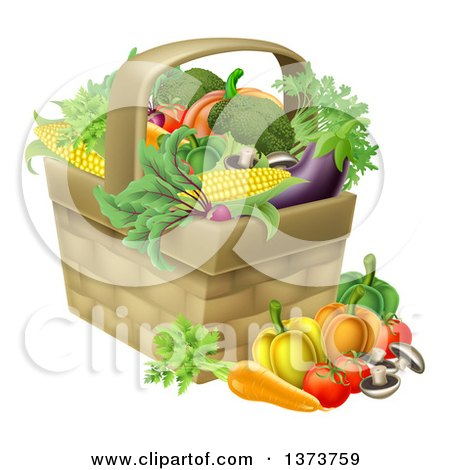 Clipart of a Produce Basket Full of Fresh Vegetables - Royalty Free Vector Illustration by AtStockIllustration