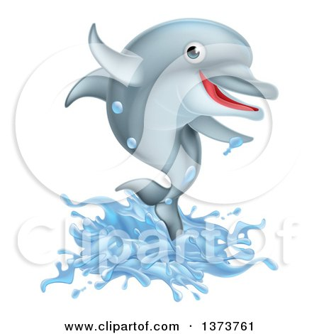 Clipart of a Happy Cute Dolphin Splashing and Jumping - Royalty Free Vector Illustration by AtStockIllustration