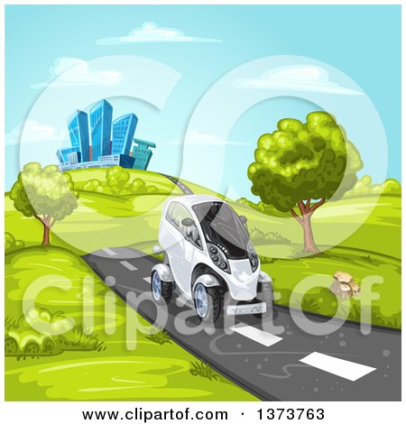 Clipart of a Futuristic White Mini Car Driving on a Rural Road with a City in the Background - Royalty Free Vector Illustration by merlinul