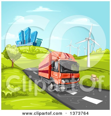 Clipart of a Yellow Big Rig Truck Driving on a Rural Road near Wind Turbines with a City in the Background - Royalty Free Vector Illustration by merlinul