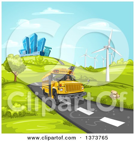 Clipart of a Yellow School Bus Driving on a Road with Hills, Buildings and Wind Turbines - Royalty Free Vector Illustration by merlinul