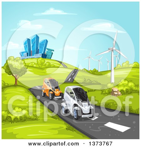Clipart of Futuristic Mini Cars Driving on a Rural Road with a Wind Farm and a City in the Background - Royalty Free Vector Illustration by merlinul