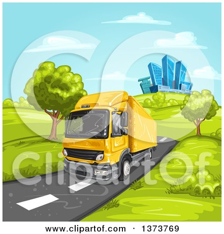 Clipart of a Yellow Big Rig Truck Driving on a Rural Road with a City in the Background - Royalty Free Vector Illustration by merlinul