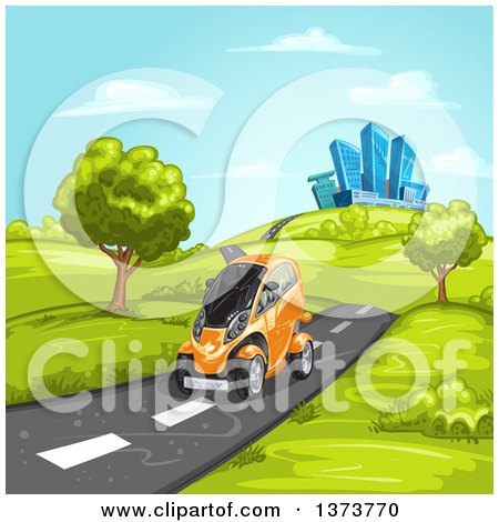 Clipart of a Futuristic Orange Mini Car Driving on a Rural Road with a City in the Background - Royalty Free Vector Illustration by merlinul