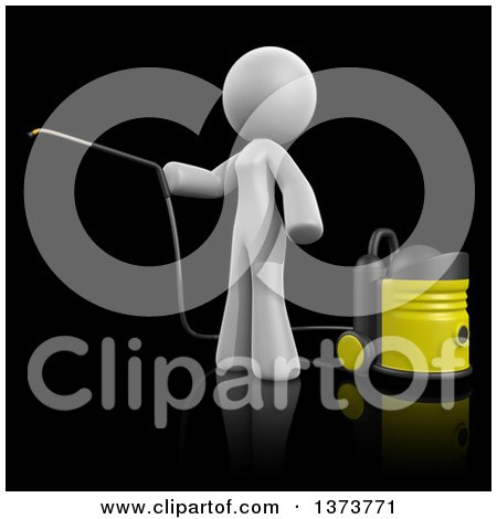 Clipart of a 3d White Cleaning Lady Using a Pressure Washer, on a Black Background - Royalty Free Illustration by Leo Blanchette