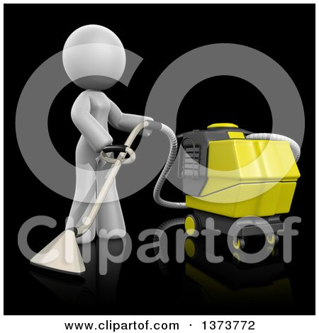 Clipart of a 3d White Cleaning Lady Operating a Carpet Cleaner, on a Black Background - Royalty Free Illustration by Leo Blanchette