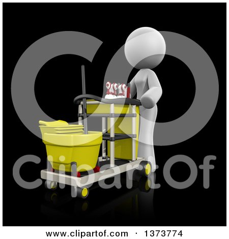Clipart of a 3d White Cleaning Lady Pushing a Cart, on a Black Background - Royalty Free Illustration by Leo Blanchette