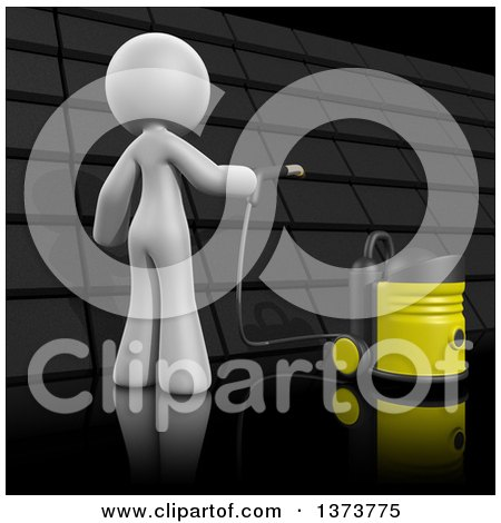 Clipart of a 3d White Cleaning Lady Cleaning a Roof, on a Black Background - Royalty Free Illustration by Leo Blanchette