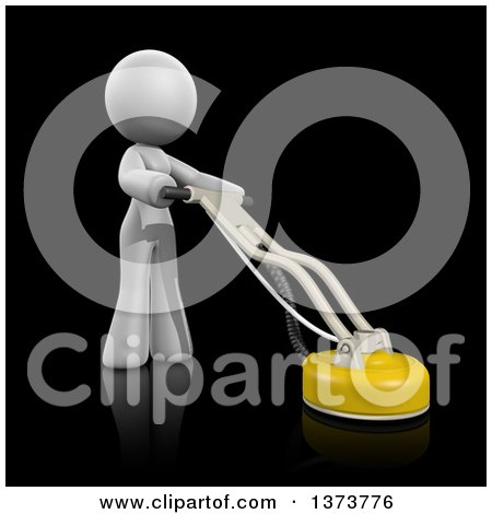 Clipart of a 3d White Cleaning Lady Using a Tile and Grout Cleaner, on a Black Background - Royalty Free Illustration by Leo Blanchette