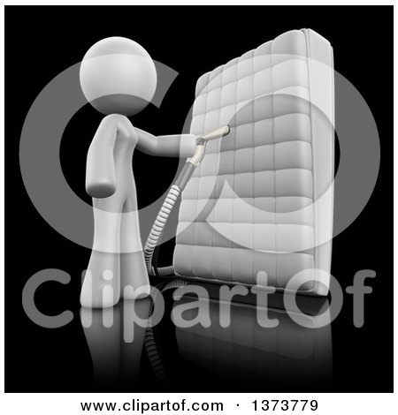 Clipart of a 3d White Cleaning Lady Sanitizing a Mattress, on a Black Background - Royalty Free Illustration by Leo Blanchette