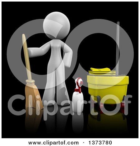 Clipart of a 3d White Office Cleaning Lady with Equipment, on a Black Background - Royalty Free Illustration by Leo Blanchette