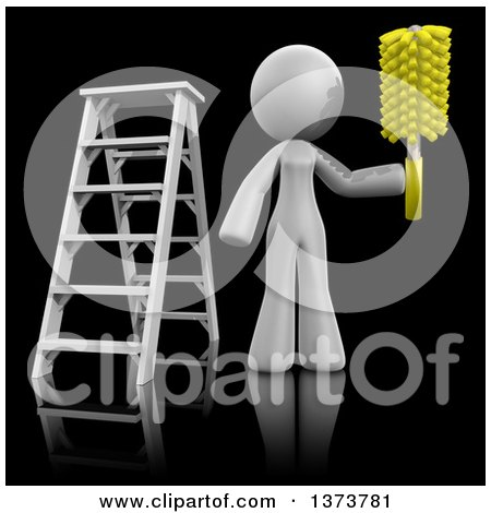 Clipart of a 3d White Cleaning Lady Working After a Renovation, on a Black Background - Royalty Free Illustration by Leo Blanchette