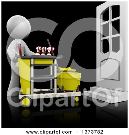 Clipart of a 3d White Cleaning Lady with a Cart, on a Black Background - Royalty Free Illustration by Leo Blanchette