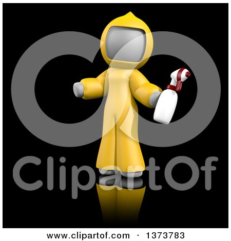 Clipart of a 3d White Cleaning Lady at a Crime Scene, on a Black Background - Royalty Free Illustration by Leo Blanchette
