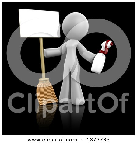 Clipart of a 3d White Cleaning Lady Holding a Broom and Spray Bottle with a Sign, on a Black Background - Royalty Free Illustration by Leo Blanchette