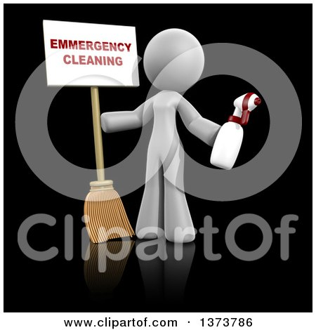 Clipart of a 3d White Cleaning Lady Holding a Broom and Spray Bottle with an Emergency Cleaning Sign, on a Black Background - Royalty Free Illustration by Leo Blanchette
