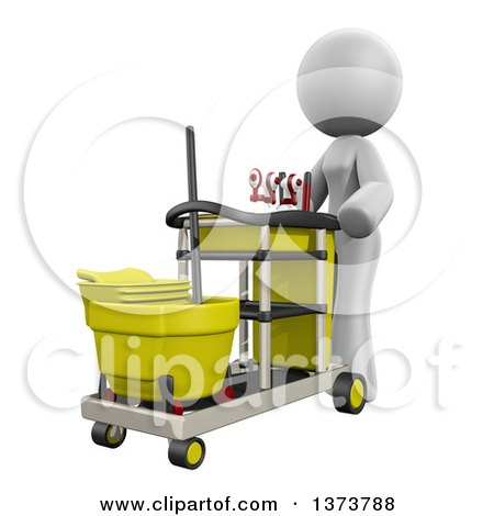 Clipart of a 3d White Cleaning Lady Pushing a Cart, on a White Background - Royalty Free Illustration by Leo Blanchette