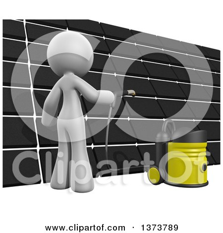 Clipart of a 3d White Cleaning Lady Cleaning a Roof, on a White Background - Royalty Free Illustration by Leo Blanchette