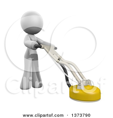 Clipart of a 3d White Cleaning Lady Using a Tile and Grout Cleaner, on a White Background - Royalty Free Illustration by Leo Blanchette