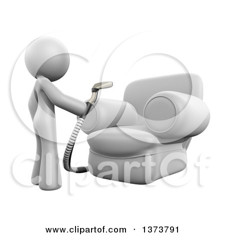 Clipart of a 3d White Cleaning Lady Using an Upholstery Cleaner on a Chair, on a White Background - Royalty Free Illustration by Leo Blanchette