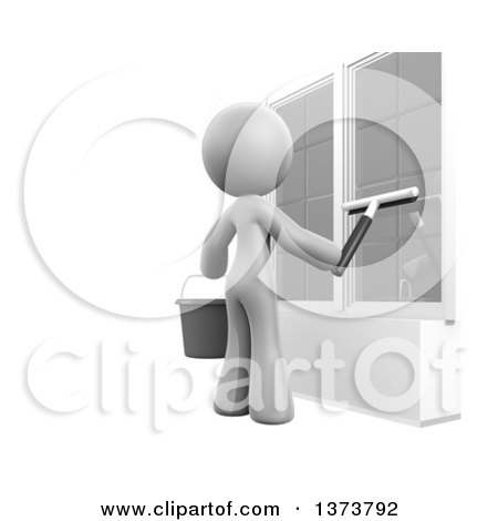 Clipart of a 3d White Cleaning Lady Washing Windows, on a White Background - Royalty Free Illustration by Leo Blanchette