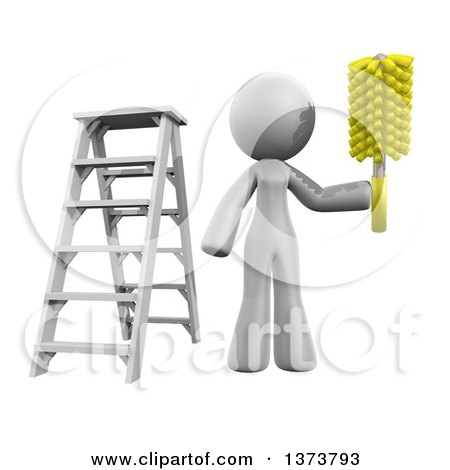 Clipart of a 3d White Cleaning Lady Working After a Renovation, on a White Background - Royalty Free Illustration by Leo Blanchette