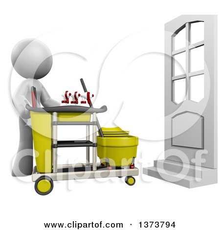 Clipart of a 3d White Cleaning Lady with a Cart, on a White Background - Royalty Free Illustration by Leo Blanchette