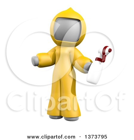 Clipart of a 3d White Cleaning Lady at a Crime Scene, on a White Background - Royalty Free Illustration by Leo Blanchette