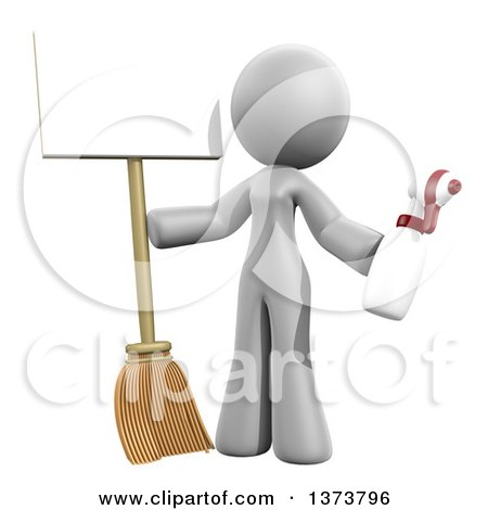 Clipart of a 3d White Cleaning Lady Holding a Broom and Spray Bottle with a Sign, on a White Background - Royalty Free Illustration by Leo Blanchette