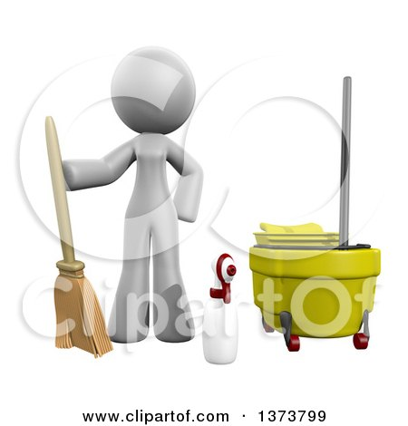 3d White Office Cleaning Lady with Equipment, on a White Background Posters, Art Prints