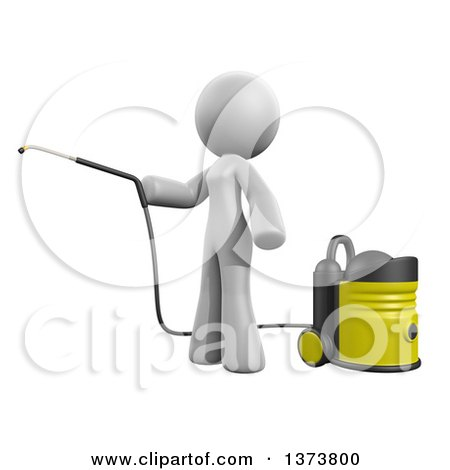 Clipart of a 3d White Cleaning Lady Using a Pressure Washer, on a White Background - Royalty Free Illustration by Leo Blanchette