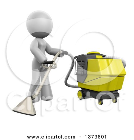 Clipart of a 3d White Cleaning Lady Operating a Carpet Cleaner, on a White Background - Royalty Free Illustration by Leo Blanchette