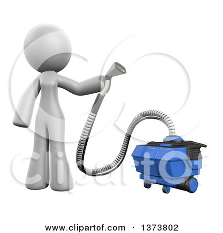 Clipart of a 3d White Cleaning Lady Using a Rug Cleaner, on a White Background - Royalty Free Illustration by Leo Blanchette