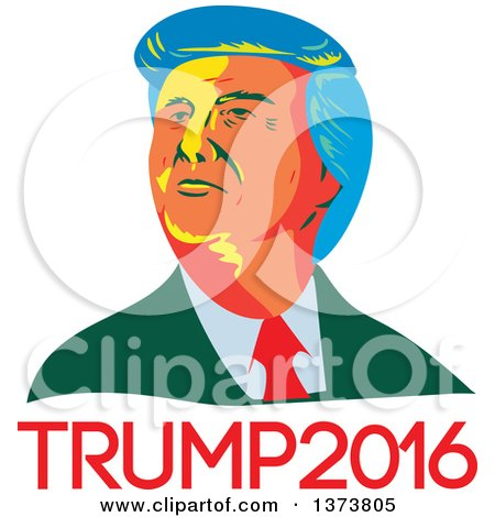 Clipart of a Retro WPA Styled Portrait of Republican Presidential Nominee Donald Trump over Text - Royalty Free Vector Illustration by patrimonio