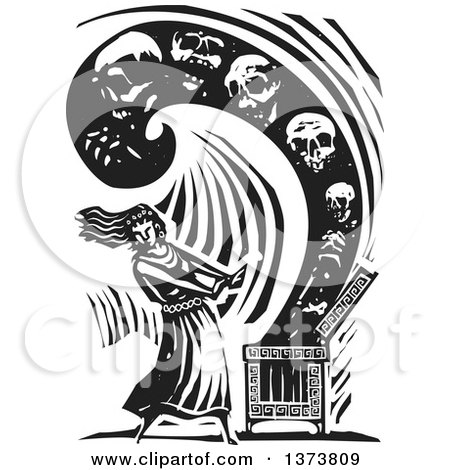 Clipart of a Black and White Woodcut Scene of Pandora Opening a Box Containing All of the Evils of the World - Royalty Free Vector Illustration by xunantunich