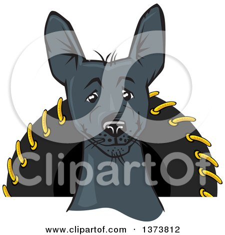 Clipart of a Black Xolo Mexican Hairless Dog - Royalty Free Vector Illustration by David Rey