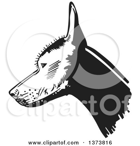 Clipart of a Black and White Xolo Mexican Hairless Dog Head in Profile - Royalty Free Vector Illustration by David Rey