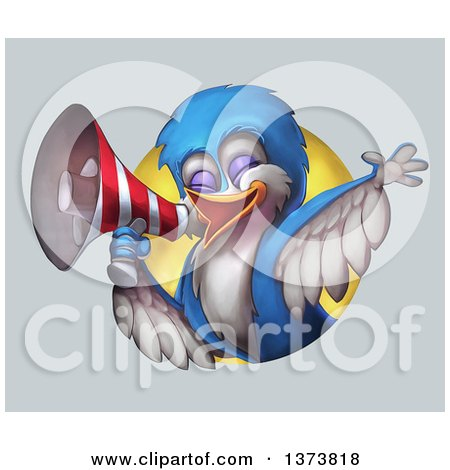 Clipart of a Calling Bird Using a Megaphone, Emerging from a Circle, on a Gradient Background - Royalty Free Illustration by Tonis Pan