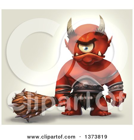 Clipart of a Mad Cyclops Monster Holding a Club, on a Gradient Background - Royalty Free Illustration by Tonis Pan