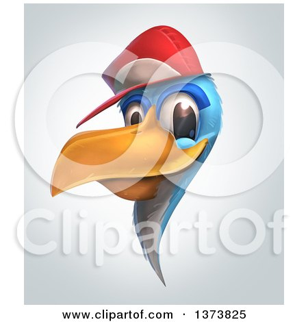Clipart of a Blue Bird Wearing a Baseball Cap, on a Gradient Background - Royalty Free Illustration by Tonis Pan