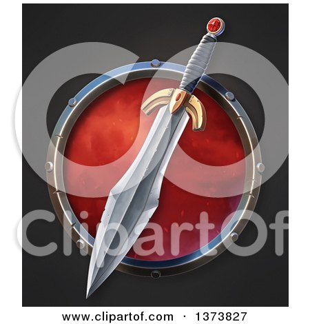 Clipart of a Sharp Sword with a Ruby Gem over a Circle, on a Black Background - Royalty Free Illustration by Tonis Pan